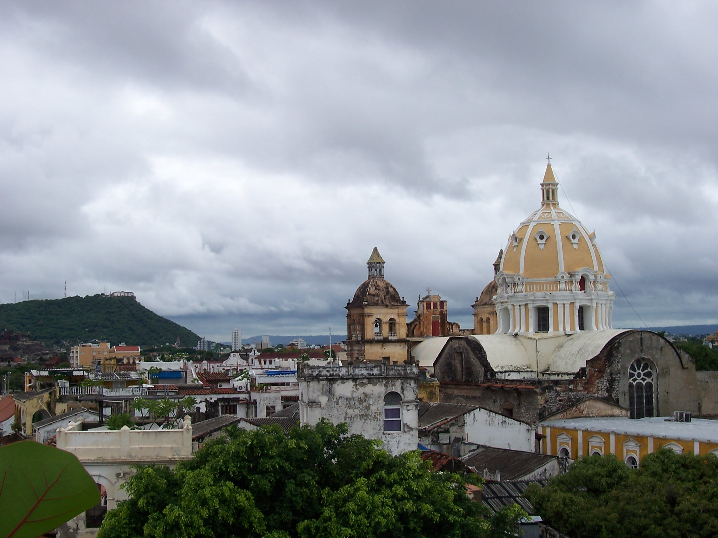 Rooftop view across the historical center of Cartagena Colombia