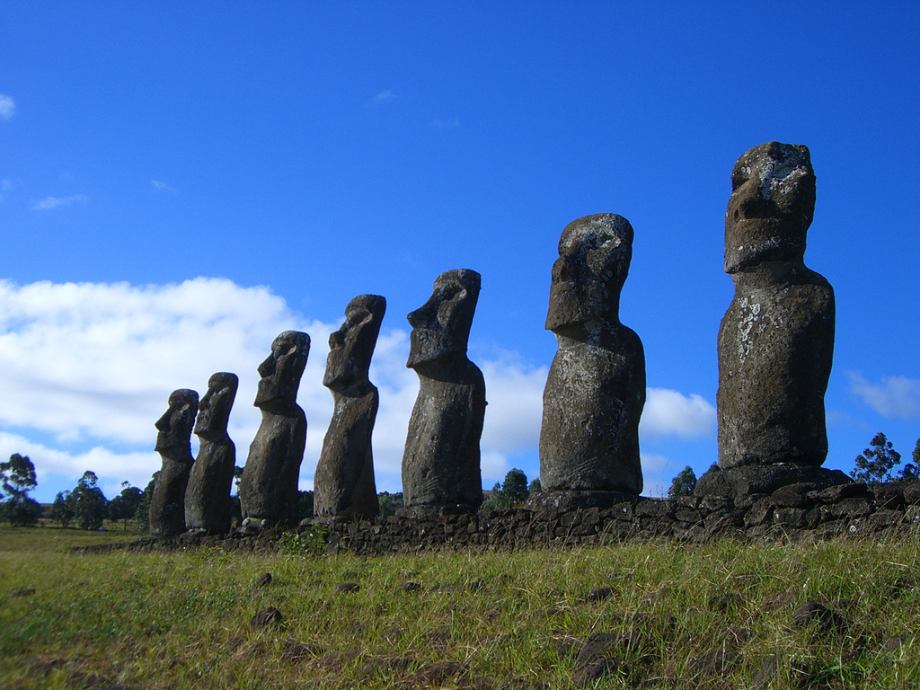Moia statues of Easter Island, Chile