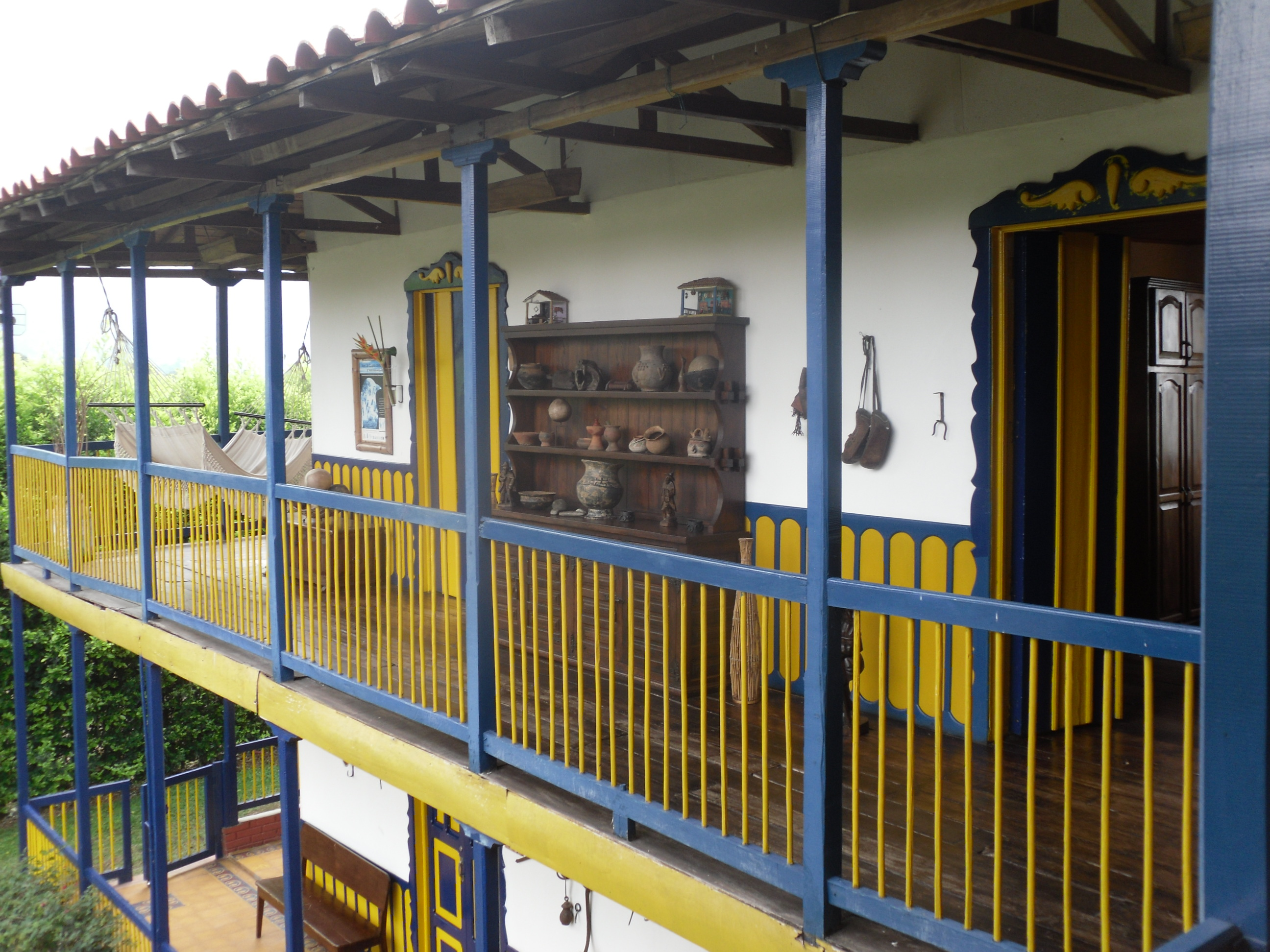 Typical hacienda lodging in the coffee country of Colombia