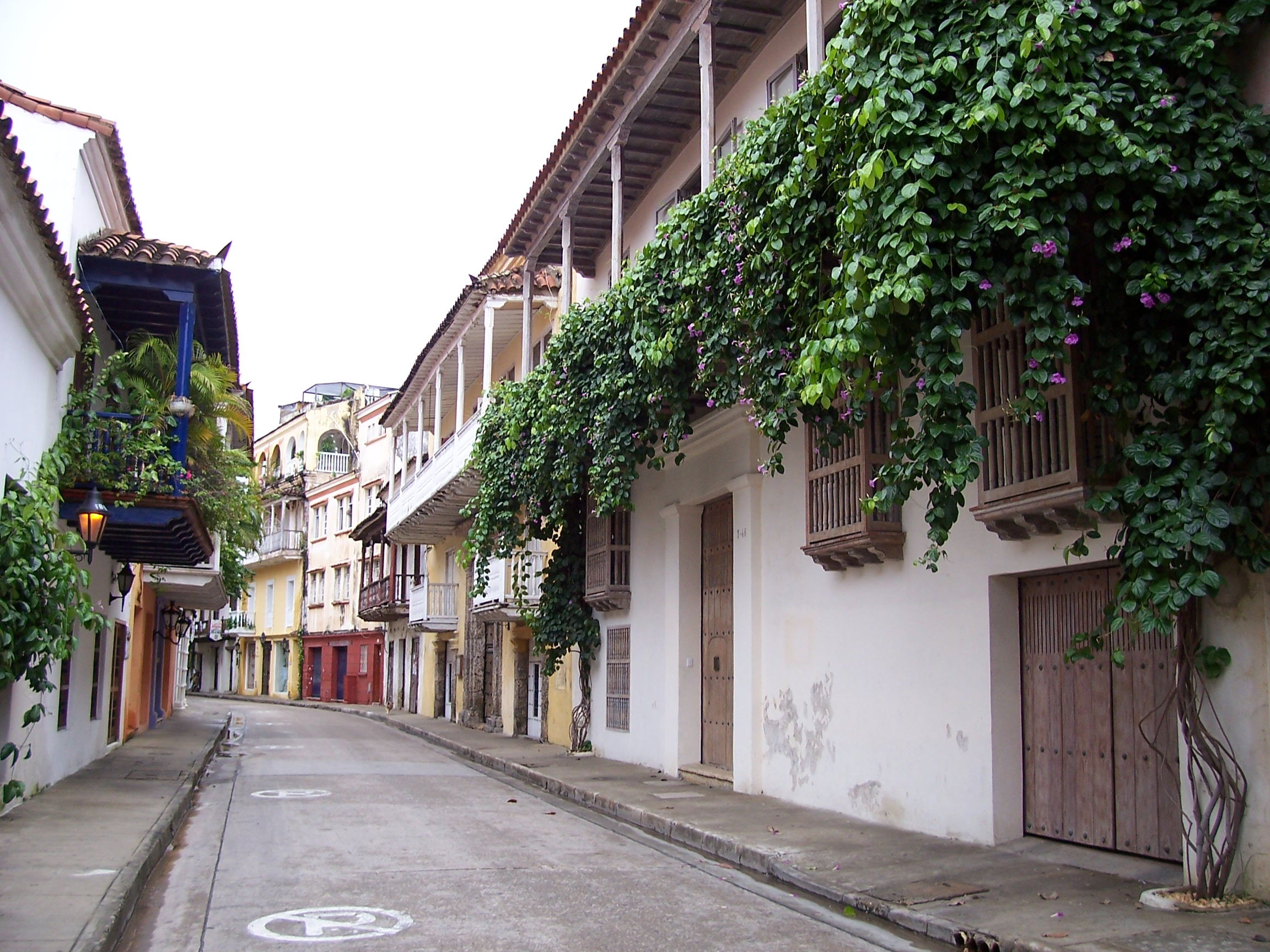 Colorful Balconies in the historical city of Cartagena Colombia