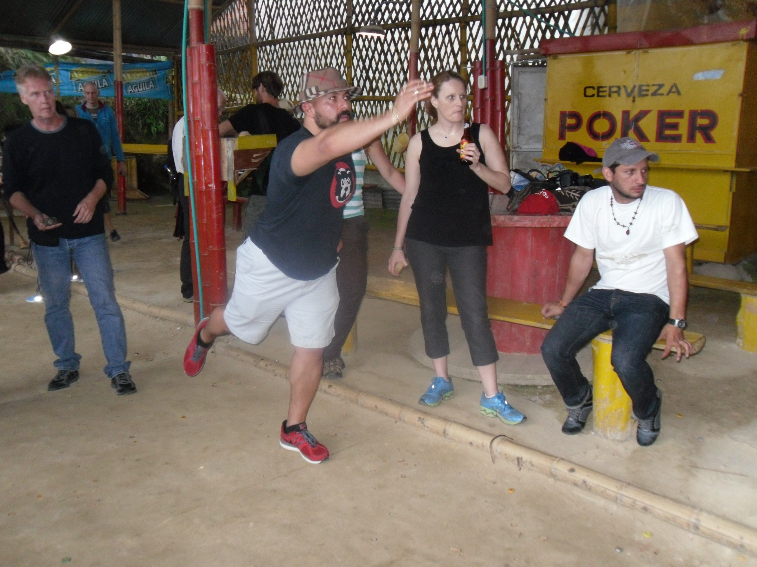 Playing a game of Tejo in Salento, Colombia